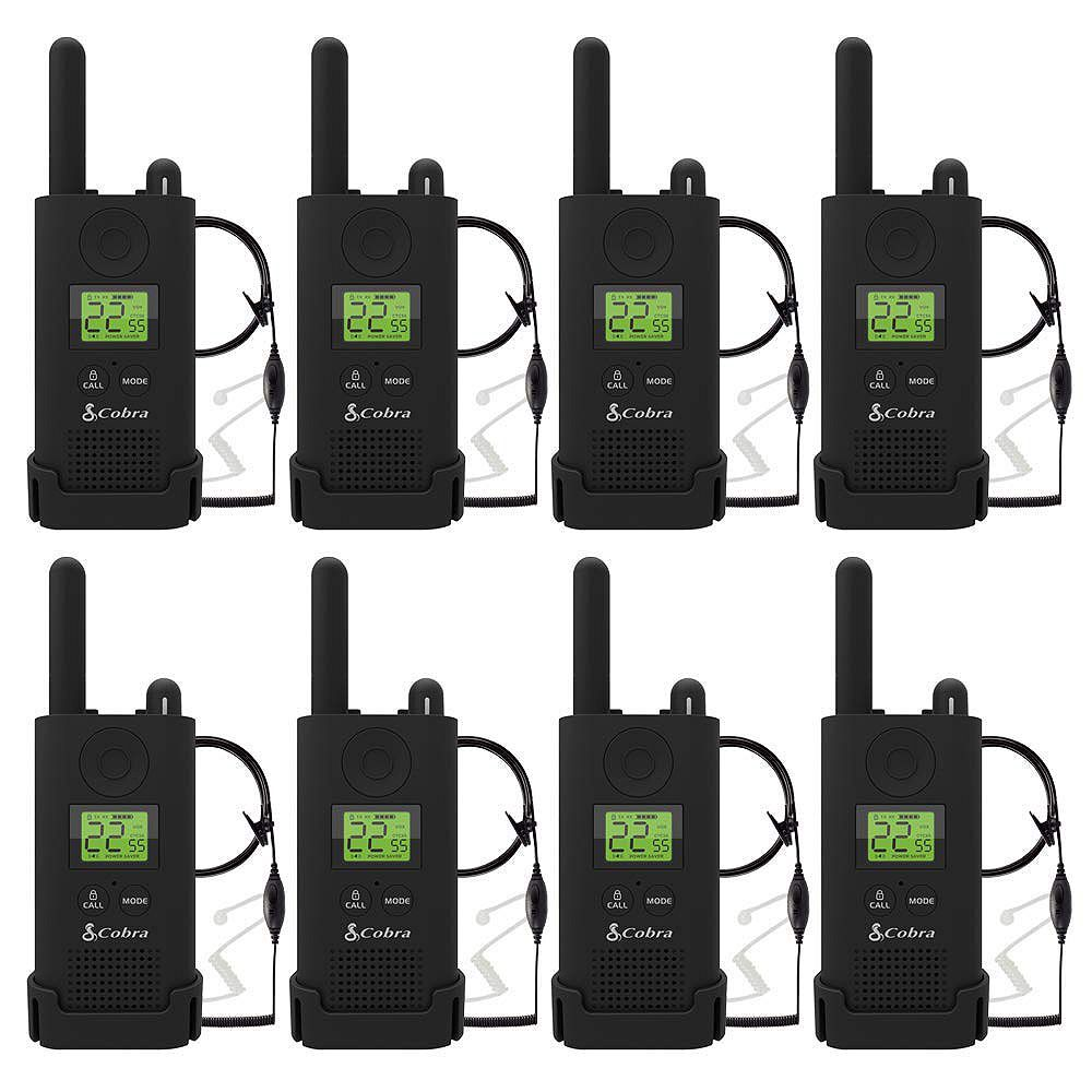 Cobra Pro MicroTALK 23-Mile, 22 Channel FRS/GMRS 2 Way Radios with Surveillance Headsets -8 Pack