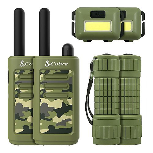 Kids 6 Piece 25 km Two Way Radio / Walkie Talkie with Headlamp and Flashlight (Green)