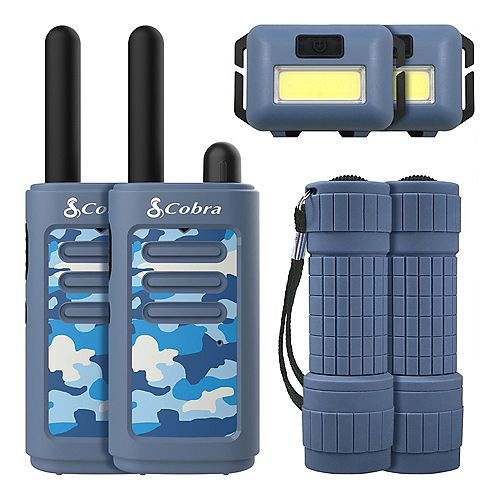 Kids 6 Piece 25 km Two Way Radio / Walkie Talkie with Headlamp and Flashlight (Blue)