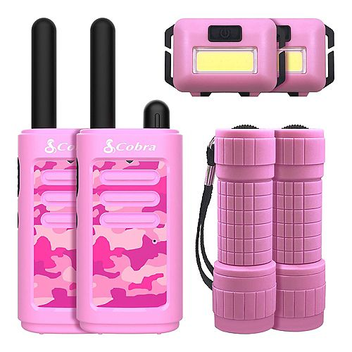 Kids 6 Piece 25 km Two Way Radio / Walkie Talkie with Headlamp and Flashlight (Pink)