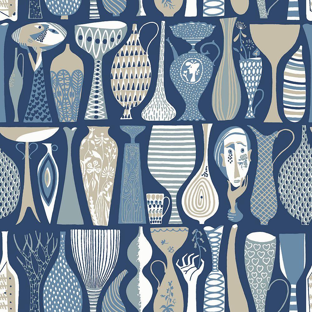 Wall Vision Pottery Blue Folk Wallpaper