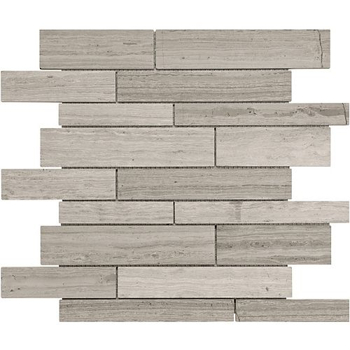 Enigma Regina 12-inch x 12-inch Random Strip Polished Veincut Marble Mosaic (10 sq.ft. / case)