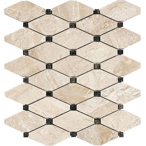 Enigma Rosario 10.5-inch x 12-inch Clipped Diamond Honed Marble Mosaic Tile (9 sq.ft. / case)