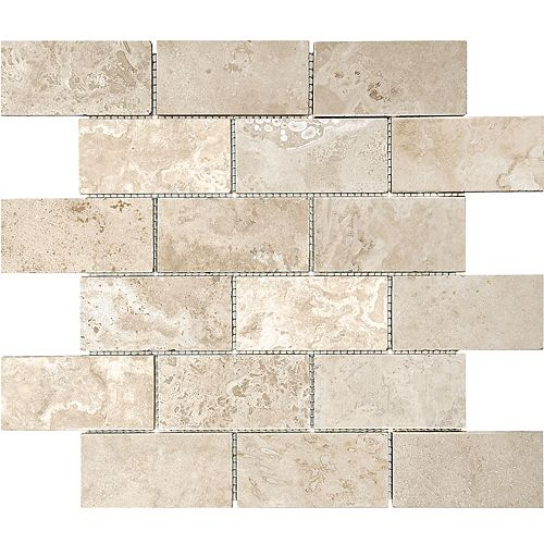 Avaline 2-inch x 4-inch Filled & Honed Travertine Mosaic (10 sq.ft. / case)