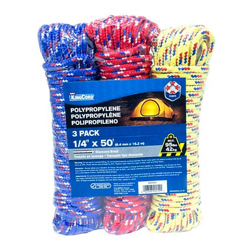 1/4 in. x 50 ft. Polypropylene Diamond Braid Rope, Assorted Colours (3-Pack)