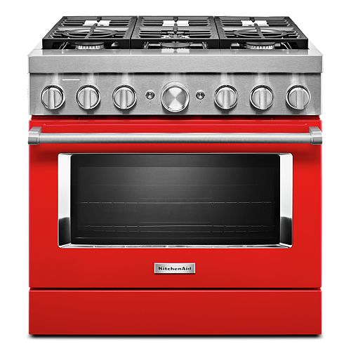 36-inch 5.1 cu. ft. Dual Fuel Freestanding Smart Range with 6-Burners in Passion Red