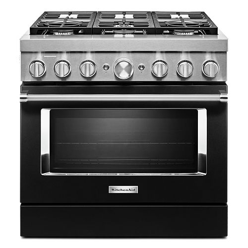 36-inch 5.1 cu. ft. Dual Fuel Freestanding Smart Range with 6-Burners in Imperial Black