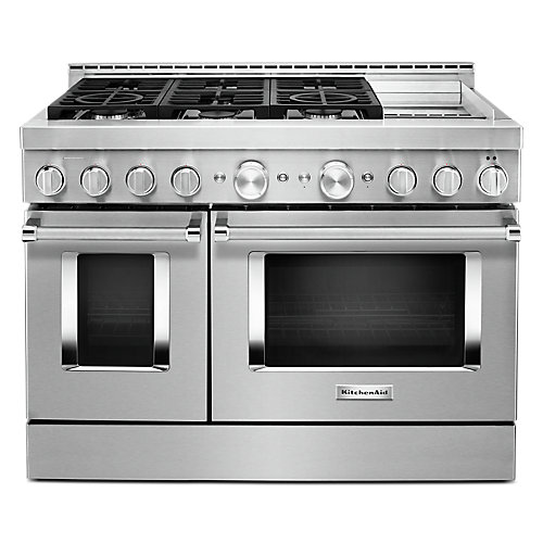 48-inch 6.3 cu. ft. Smart Double Oven Commercial-Style Gas Range with Griddle and True Convection in Stainless Steel