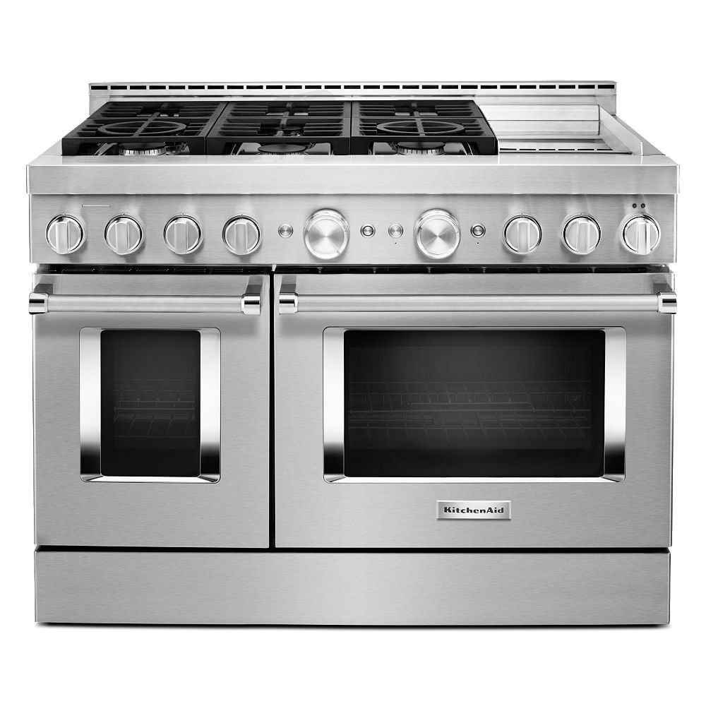 Kitchenaid 48 Inch 6 3 Cu Ft Smart Double Oven Commercial Style Gas Range With Griddle A The Home Depot Canada
