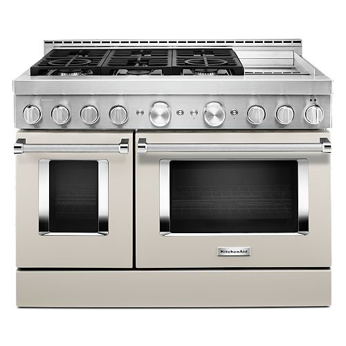 KitchenAid 48-inch 6.3 cu. ft. Smart Double Oven Commercial-Style Gas Range with Griddle and True Convection in Matte Milkshake