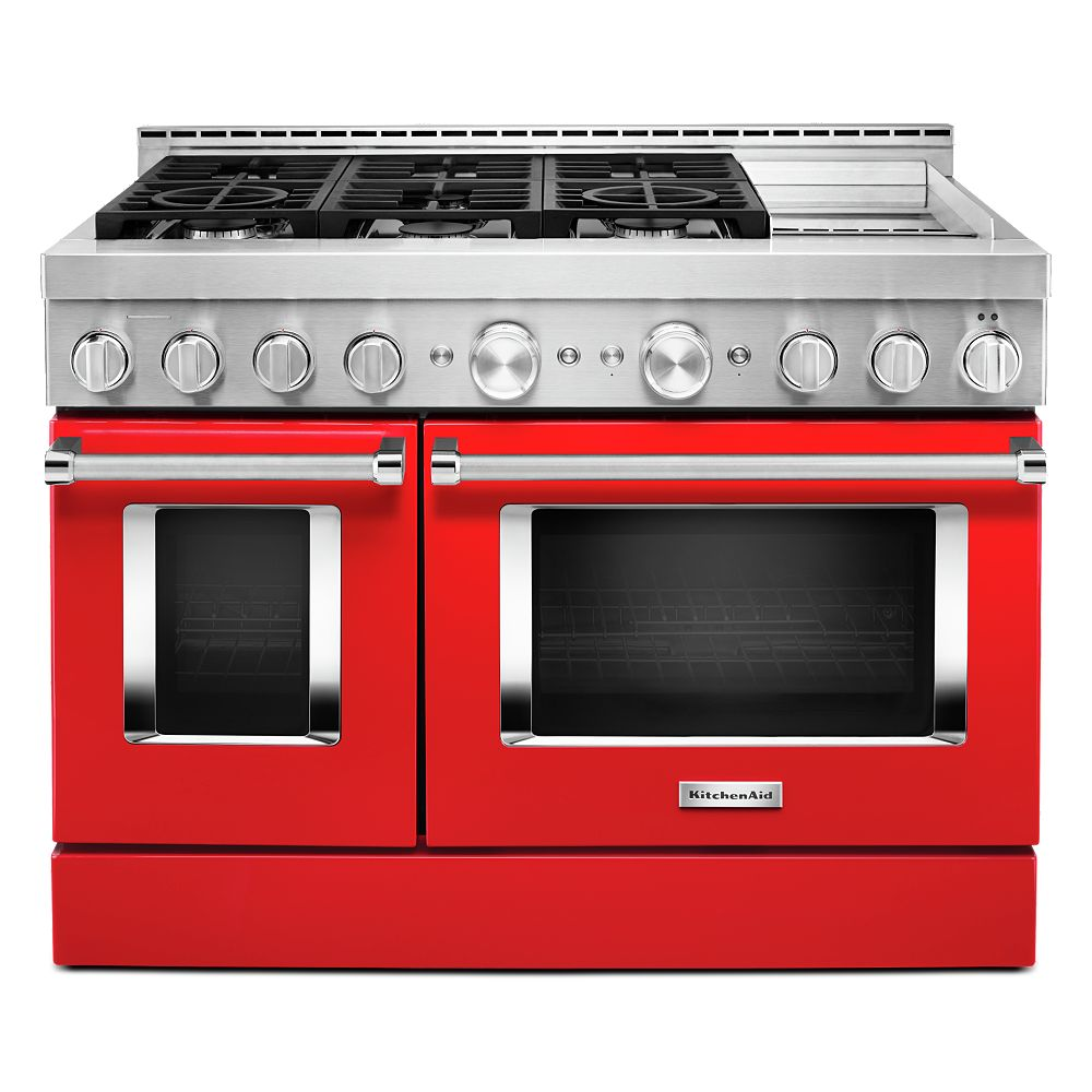 KitchenAid 48-inch 6.3 cu. ft. Smart Double Oven Commercial-Style Gas Range with Griddle and True Convection in Passion Red