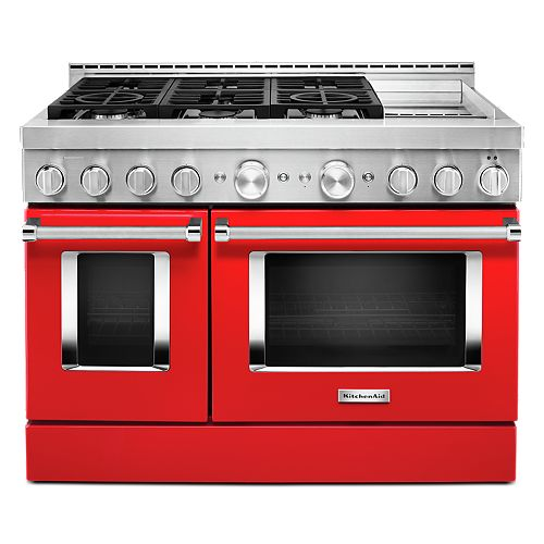 48-inch 6.3 cu. ft. Smart Double Oven Commercial-Style Gas Range with Griddle and True Convection in Passion Red