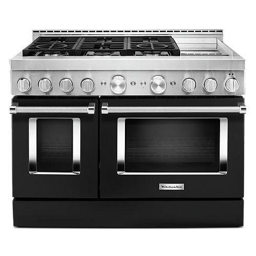 48-inch 6.3 cu. ft. Smart Double Oven Commercial-Style Gas Range with Griddle and True Convection in Imperial Black