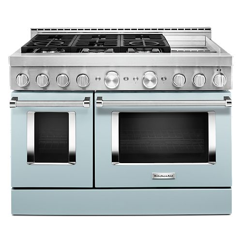 KitchenAid 48-inch 6.3 cu. ft. Smart Double Oven Commercial-Style Gas Range with Griddle and True Convection in Misty Blue
