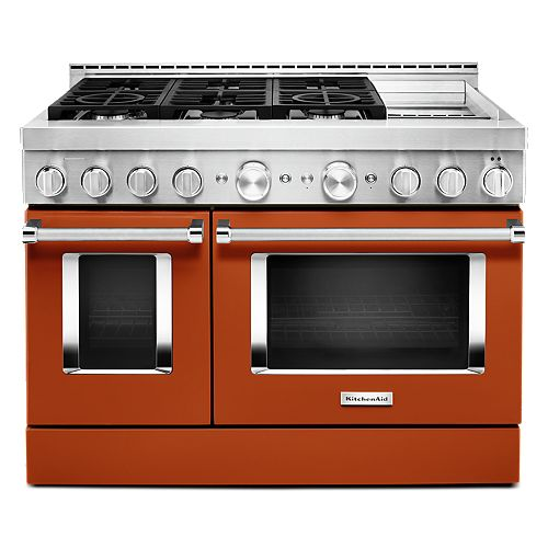 KitchenAid 48-inch 6.3 cu. ft. Smart Double Oven Commercial-Style Gas Range with Griddle and True Convection in Scorched Orange