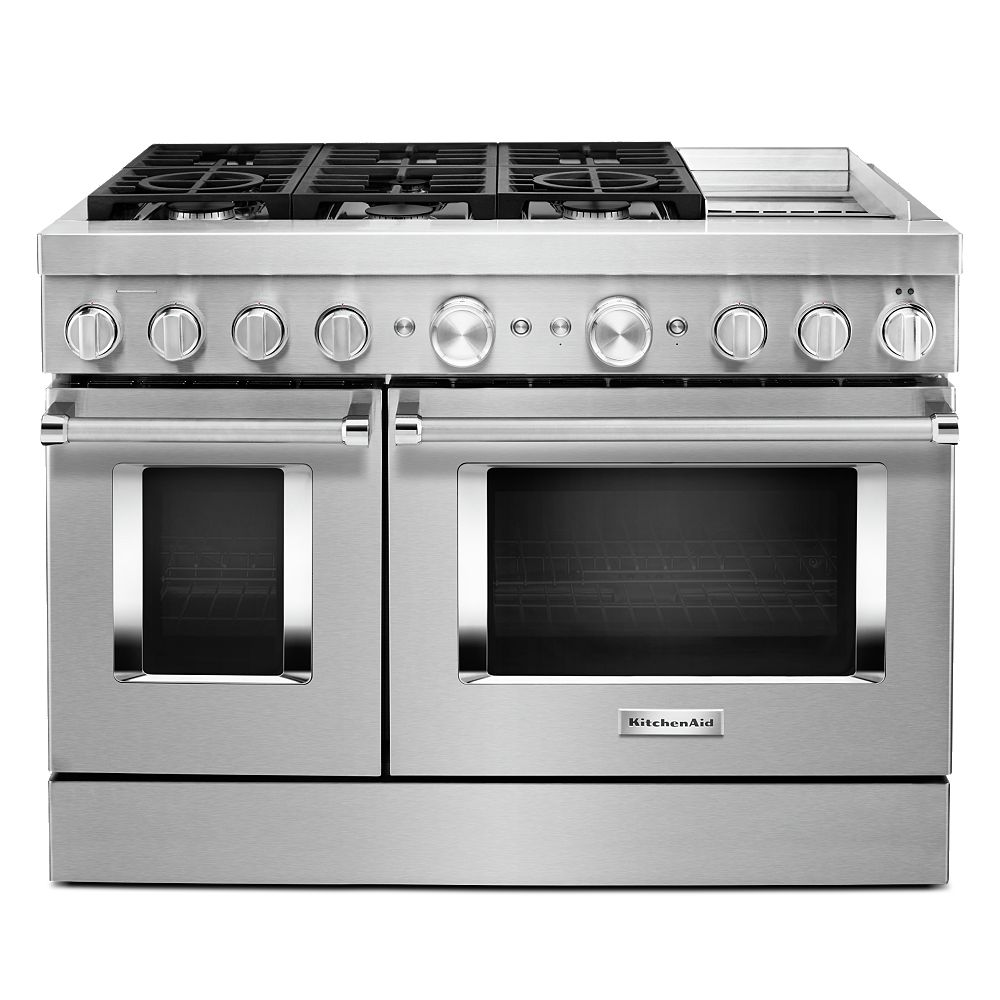 KitchenAid 48-inch 6.3 cu. ft. Smart Double Oven Dual Fuel Range with True Convection in Stainless Steel with Griddle