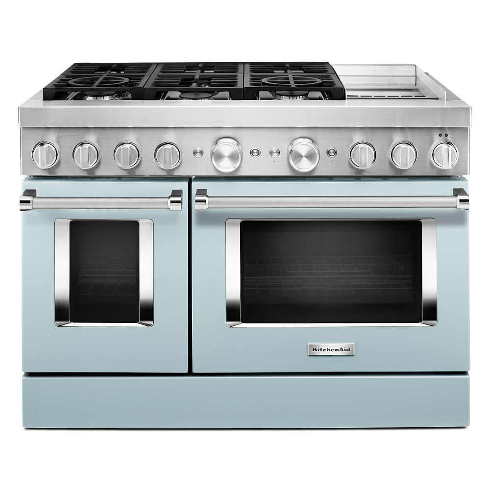 KitchenAid 48-inch 6.3 cu. ft. Double Oven Dual Fuel Range with Self-Cleaning and True Convection in Misty Blue