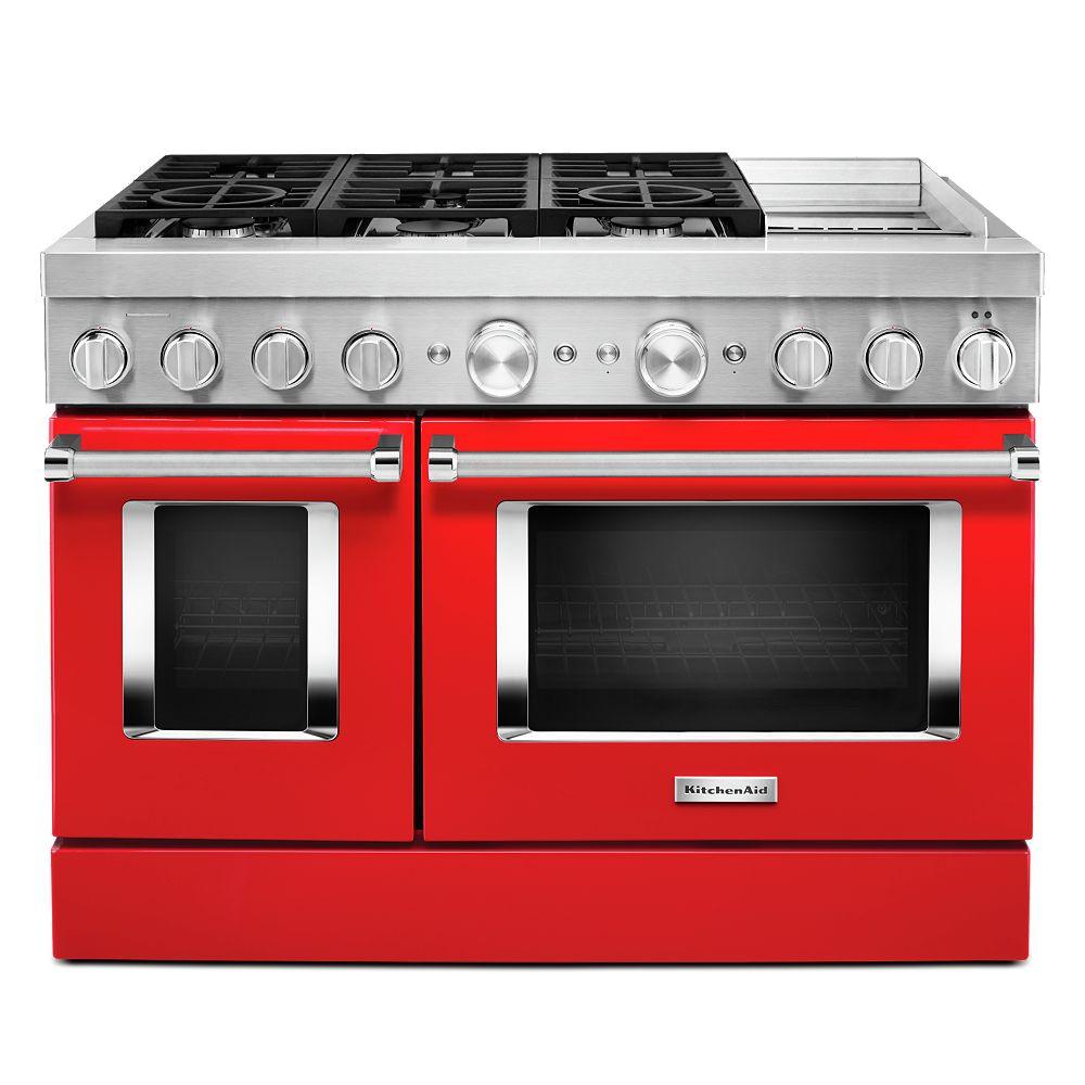 KitchenAid Cuisinière intelligente à double four de 48 po 6,3 pi3 à double alimentation avec véritable convection dans le rouge passion avec grille