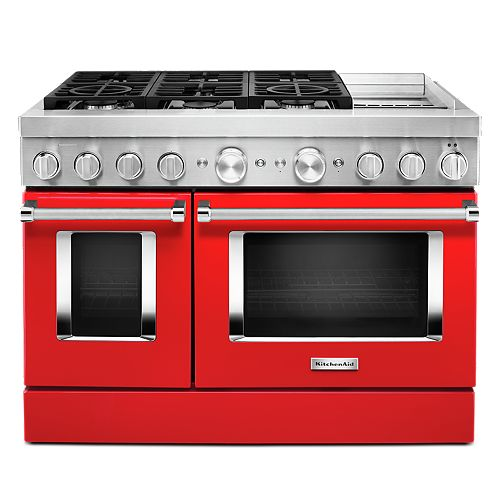 48-inch 6.3 cu. ft. Smart Double Oven Dual Fuel Range with True Convection in Passion Red with Griddle
