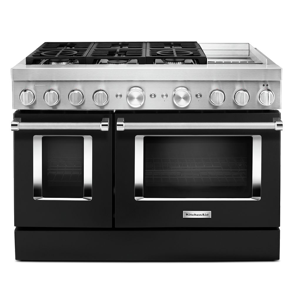 KitchenAid 48-inch 6.3 cu. ft. Smart Double Oven Dual Fuel Range with True Convection in Imperial Black with Griddle