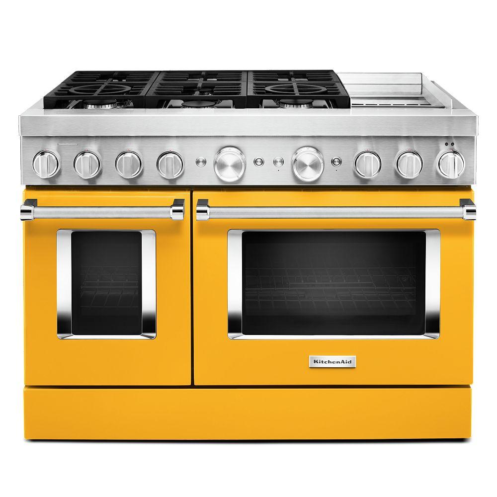 KitchenAid Cuisinière intelligente à double four de 48 po 6,3 pi3 à double alimentation avec véritable convection en poivre jaune avec grille