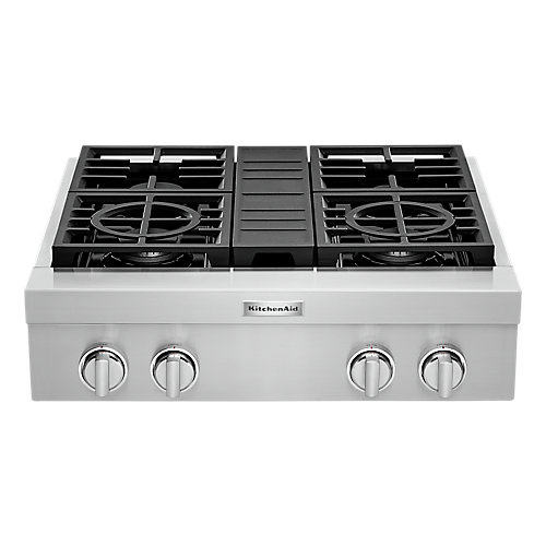 30-inch Gas Commercial Cooktop with 4-Burners in Stainless Steel