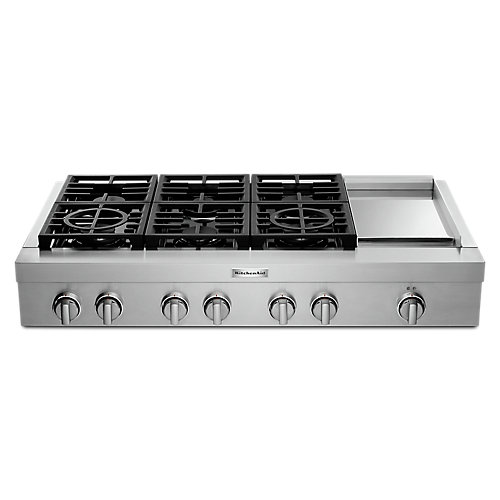 48-inch Gas Commercial Cooktop with 6-Burners in Stainless Steel