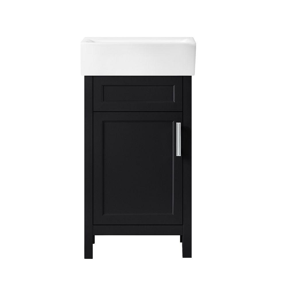 Home Decorators Collection Arvesen 18 inch W Vanity in Black Espresso with Ceramic Vanity Top in White with White Sink