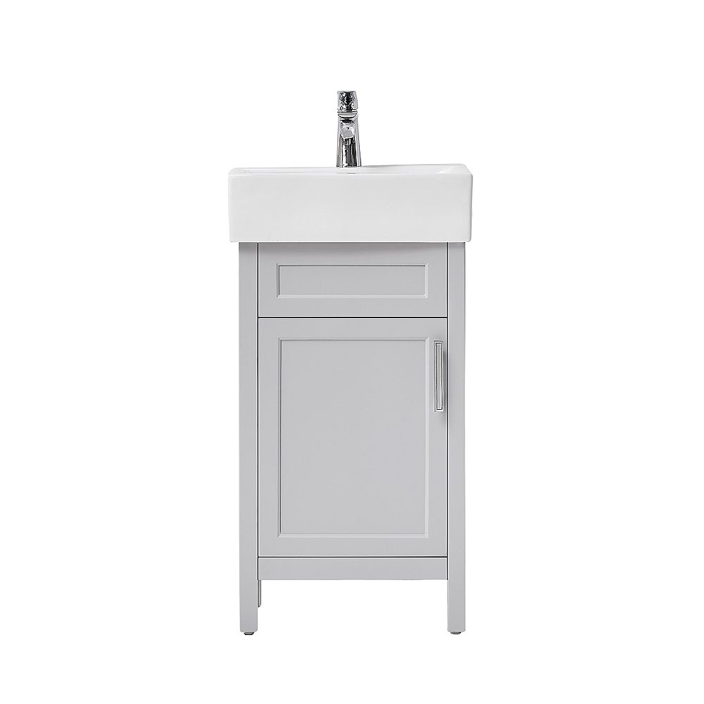 Home Decorators Collection Arvesen 18 Inch W Vanity In Dove Grey With Ceramic Vanity Top I The Home Depot Canada
