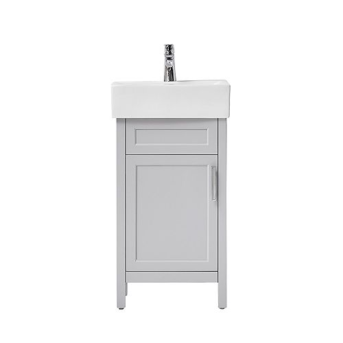 Arvesen 18 inch W Vanity in Dove Grey with Ceramic Vanity Top in White with White Sink