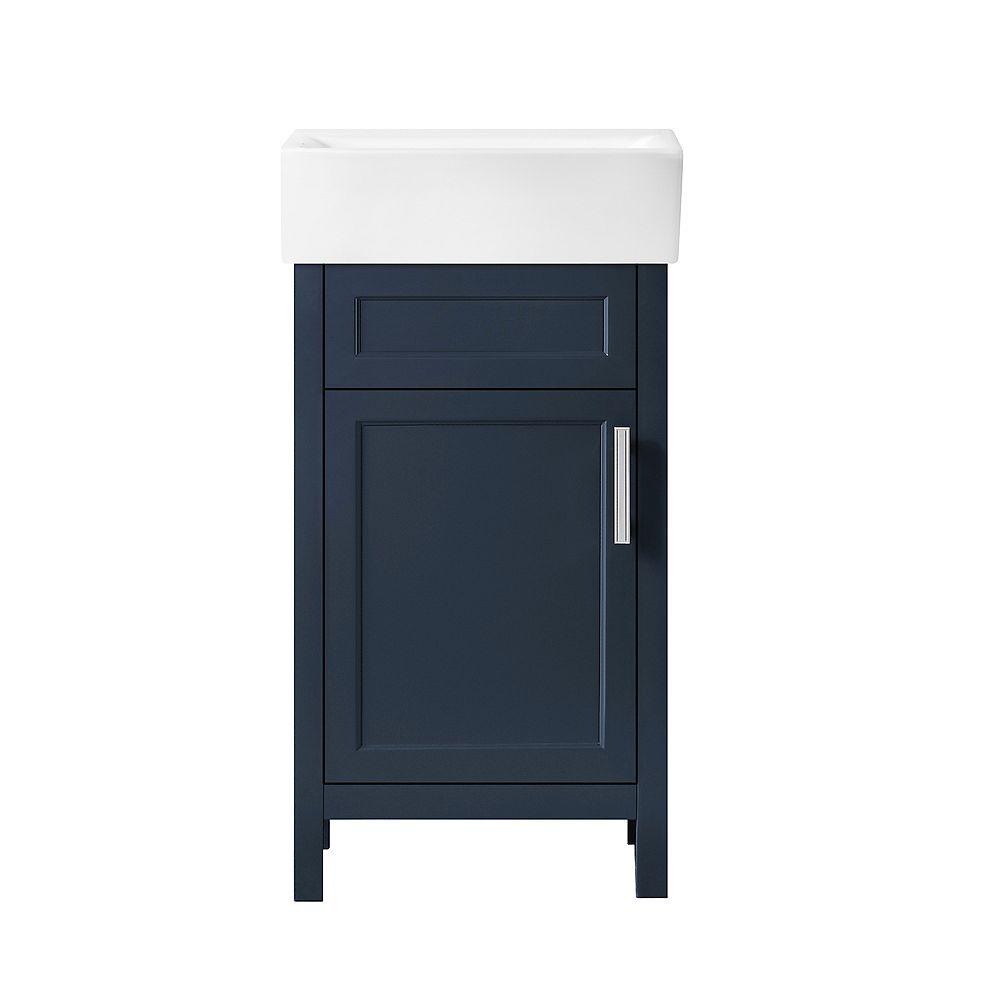 Home Decorators Collection Meuble-lavabo Arvesen de 46 cm (18 po) Bleu Fonce avec comptoir et lavabo en céramique blanche