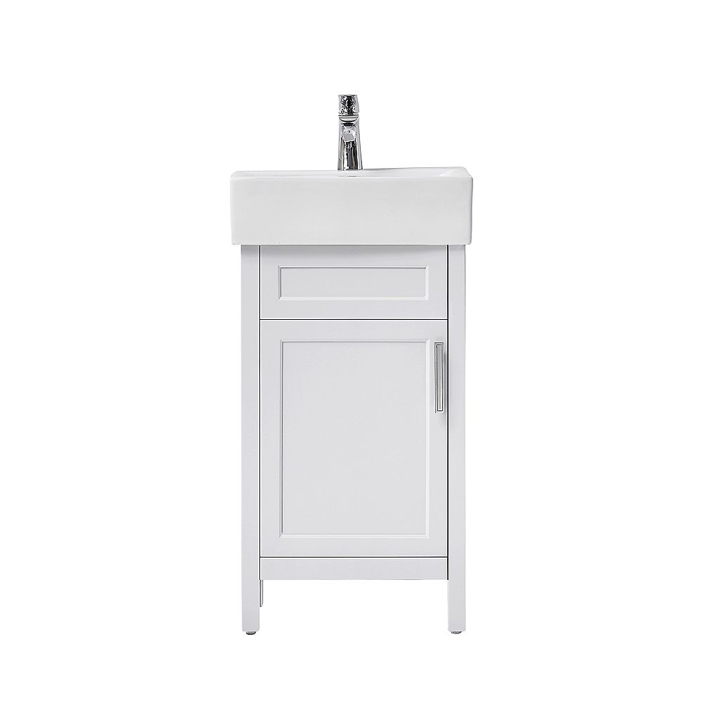 Home Decorators Collection Arvesen 18 Inch W Vanity In White With Ceramic Vanity Top In Wh The Home Depot Canada