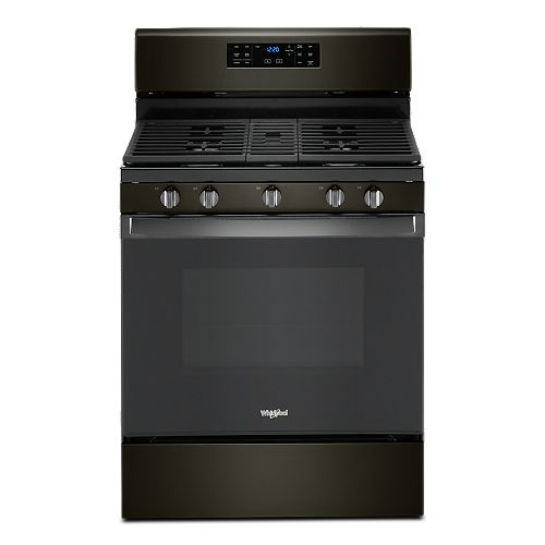 5.0 cu. ft. Gas Range with Self-Cleaning Convection Oven in Black Stainless Steel