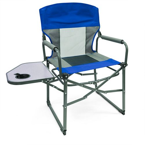 Creative Outdoor Collapse N' Carry Director Chair, Blue/White