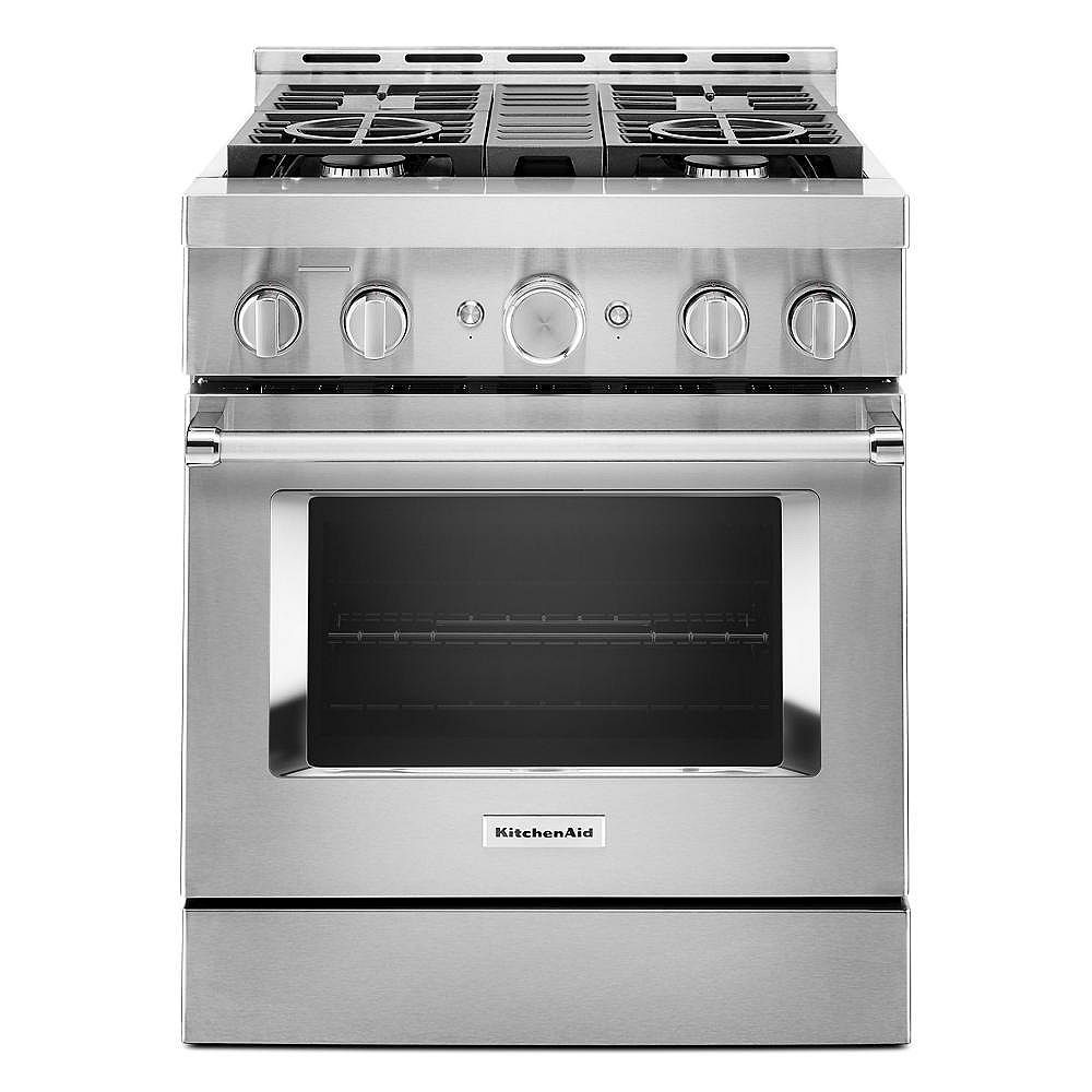 Kitchenaid 30 Inch 4 1 Cu Ft Smart Commercial Style Gas Range With Self Cleaning And Tru The Home Depot Canada