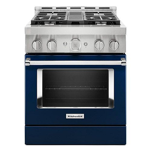 30-inch 4.1 cu. ft. Smart Commercial-Style Gas Range with Self-Cleaning and True Convection in Ink Blue