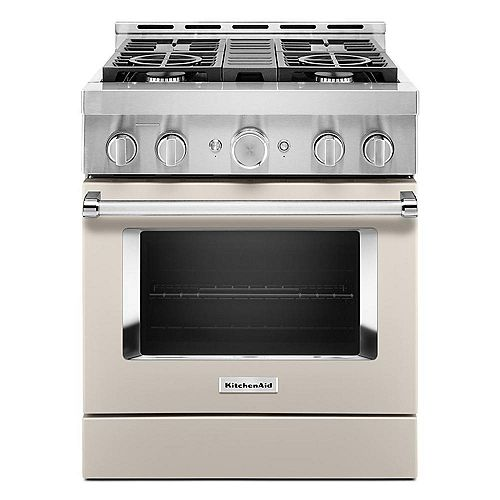 30-inch 4.1 cu. ft. Smart Commercial-Style Gas Range with Self-Cleaning and True Convection in Matte Milkshake