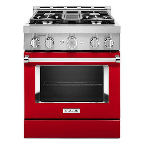 30-inch 4.1 cu. ft. Smart Commercial-Style Gas Range with Self-Cleaning and True Convection in Passion Red