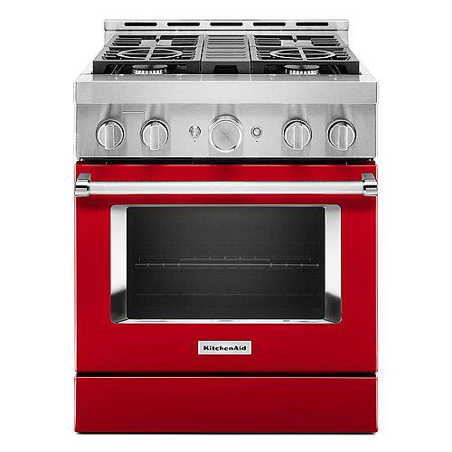 Cuisinière à gaz intelligente de 30 po 4,1 pi3 de style commercial, autonettoyante et à convection véritable, de couleur rouge passion