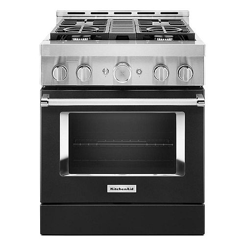 30-inch 4.1 cu. ft. Smart Commercial-Style Gas Range with Self-Cleaning and True Convection in Imperial Black