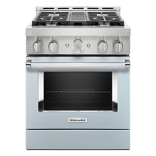 30-inch 4.1 cu. ft. Smart Commercial-Style Gas Range with Self-Cleaning and True Convection in Misty Blue