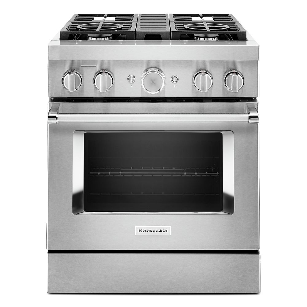 KitchenAid 30-inch 4.1 cu. ft. Dual Fuel Freestanding Smart Range with 4-Burners in Stainless Steel