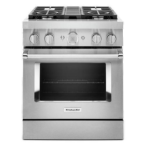 30-inch 4.1 cu. ft. Dual Fuel Freestanding Smart Range with 4-Burners in Stainless Steel