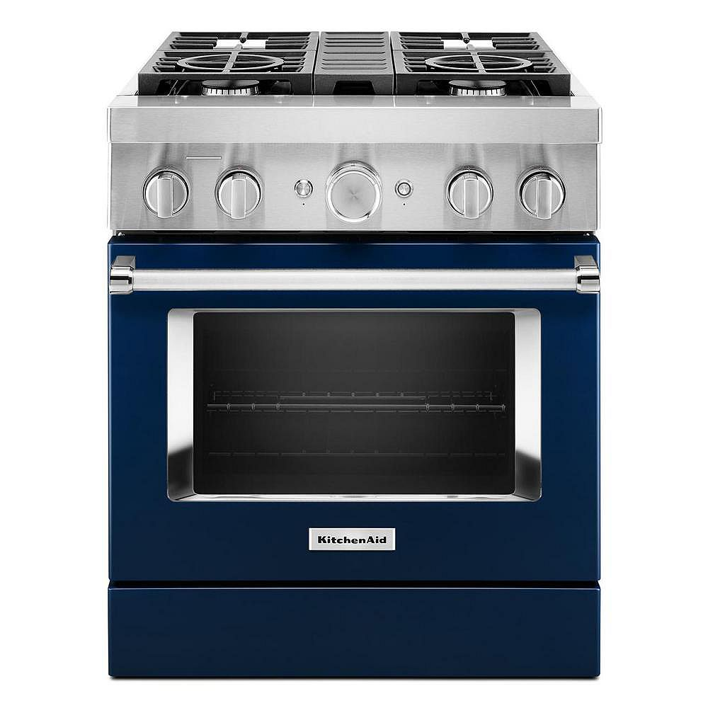 KitchenAid 30-inch 4.1 cu. ft. Dual Fuel Freestanding Smart Range with 4-Burners in Ink Blue