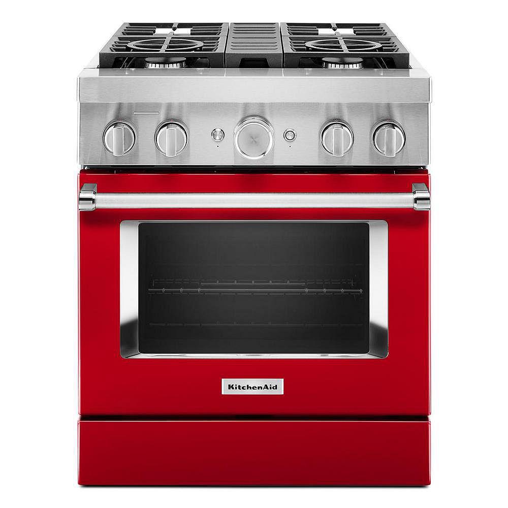 KitchenAid Cuisinière intelligente autoportante à 4 brûleurs de 30 pouces, 4,1 pi3, à double alimentation en carburant, en rouge passion