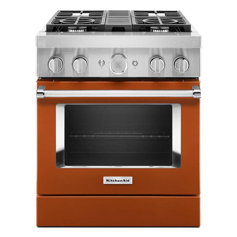 KitchenAid Cuisinière autoportante de 30 po 4,1 pi3 à 4 brûleurs en orange brûlé