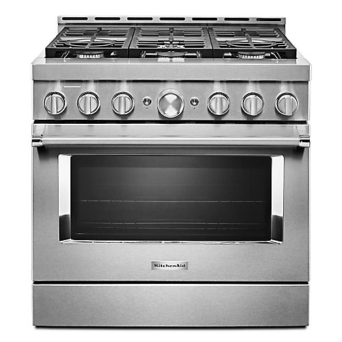 36-inch 5.1 cu. ft. Smart Commercial-Style Gas Range with Self-Cleaning and True Convection in Stainless Steel