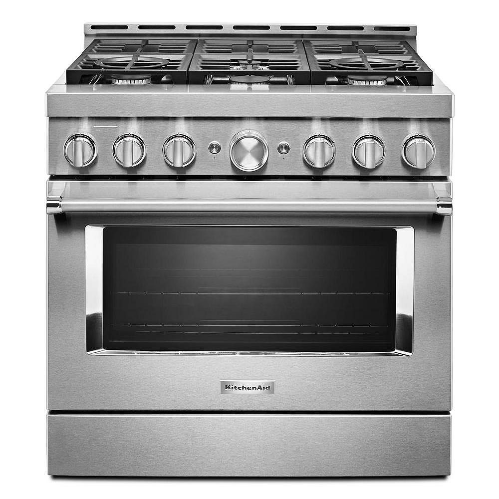 Kitchenaid 36 Inch 5 1 Cu Ft Smart Commercial Style Gas Range With Self Cleaning And Tru The Home Depot Canada