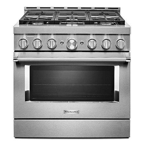 Cuisinière à gaz intelligente de 36 po 5,1 pi3 de style commercial avec autonettoyage et convection véritable en acier inoxydable