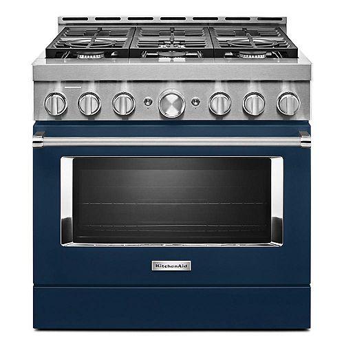 Cuisinière à gaz intelligente de 36 po 5,1 pi3 de style commercial avec autonettoyage et convection véritable en bleu d'encre